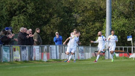Lowestoft Town's Jake Reed celebrating at Leiston. Picture: Shirley D Whitlow