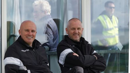 Lowestoft Town manager Ady Gallagher and assistant Dale Brooks have a smile for the camera at Leisto