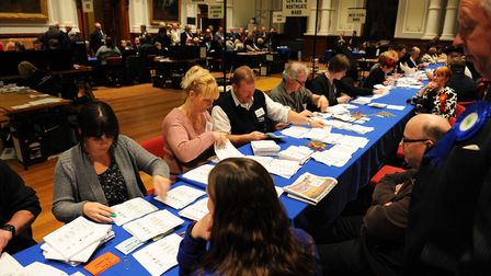 Election results being counted and announced in the Assembly Rooms at Great Yarmouth Town Hall Pi