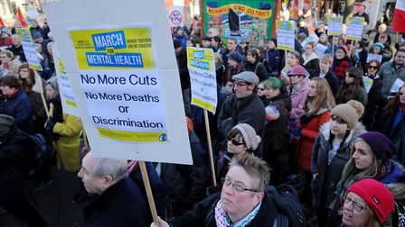 The Campaign to Save Mental Health Services in Norfolk and Suffolk protesting about cuts in 2016 in