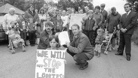 A young Henry Bellingham MP joining protesting constituents at Clenchwarton, in 1993. Picture: EDP L