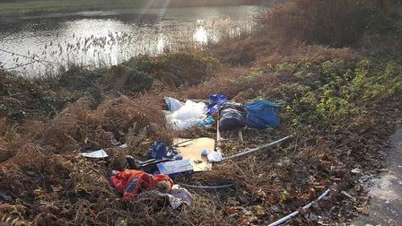 Waste dumped at Lound Lakes. Picture: Great Yarmouth Borough Council