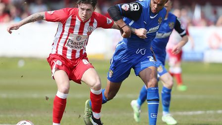 Ryan Johnson, right, in League Two action for Stevenage, played a trial match for Citys U23s at Car