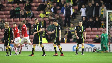 Dejected Norwich City players at Barnsley. A regular sight. Picture: Paul Chesterton/Focus Images L