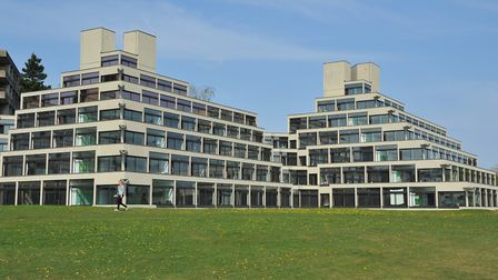 The Ziggurat buildings at the UEA. University of East Anglia. PHOTO BY SIMON FINLAY
