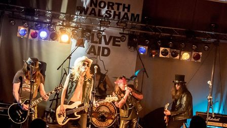 The Guns N Roses Experience played as part of the North Walsham Live Aid event. Picture: John Newste