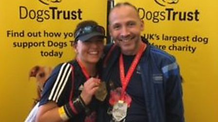 Claire and Adam Beckett, from Stoke Holy Cross, ran the London Marathon 2017 for the Dogs Trust. Pic