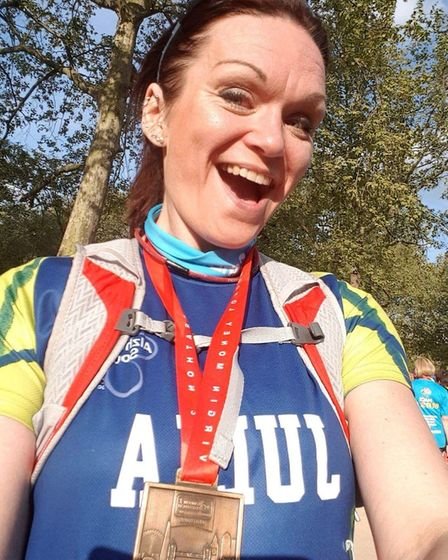 Julia Snowling, from Hellesdon in Norwich, who completed the London Marathon in 6hrs 37mins for the