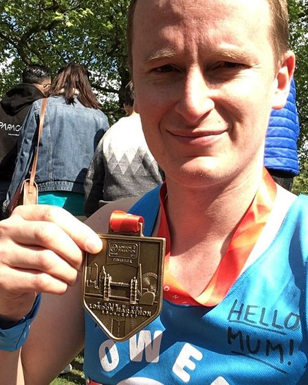 Owen Mathers who completed the London Marathon in 4hrs 55mins. Picture: OWEN MATHERS