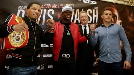 The main men - Liam Walsh, right, with Gervonta Davis, left, and Floyd Mayweather Jnr. Picture: PA
