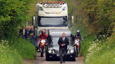 Billy Hines funeral procession arrives at the church at Wortham. PICTURE: Denise Bradley