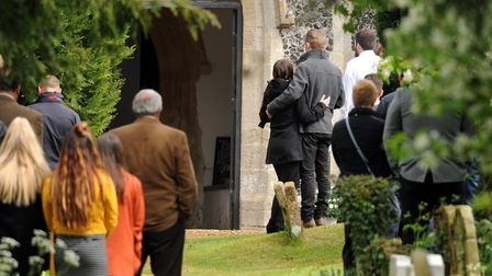 People outside the church for Billy Hines funeral at Wortham. PICTURE: Denise Bradley