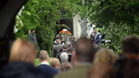 The coffin is carried into the church at Billy Hines funeral at Wortham. PICTURE: Denise Bradley