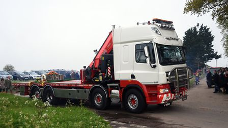 The lorry carrying the coffin at Billy Hines funeral arrives at the church at Wortham. PICTURE: Deni