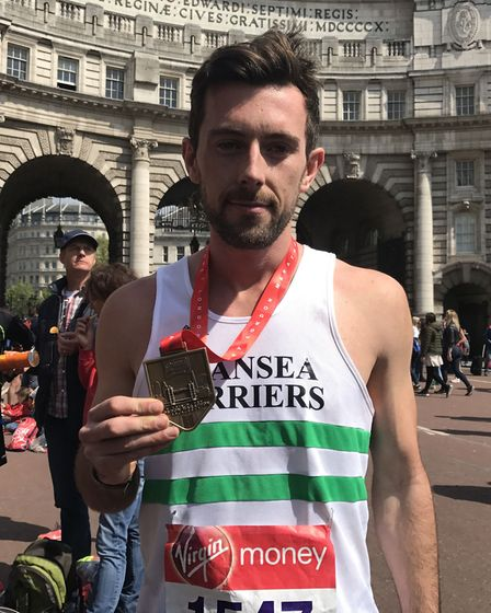 Matthew Rees, who helped carry an exhausted runner over the finishing line at the Virgin Money Londo