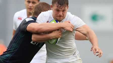Will Evans, right, in action for England during the World Rugby U20 Championship last year. Picture: