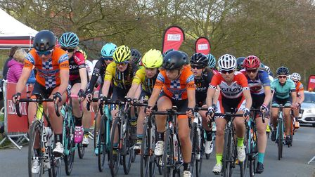 The Women's National Series race field passing through the finish at half distance. Picture: Fergus