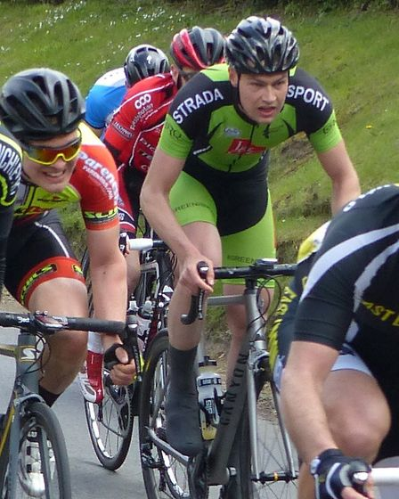 Beccles rider Morris Bacon about to tackle the final hill at the men's road race at Great Thurlow. P