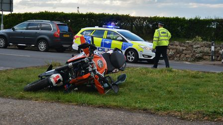 The emergency services were called to the scene of a crash in Beach Road, Cromer, tonight (April 24