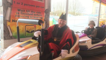 Mayor Malcom Bird and his Donna try out the dodgems Picture: David Hannant