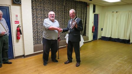 Mayor of Bungay John Groom with Derek Abbey, the recipient of the Civic Award at the Bungay Town Cou