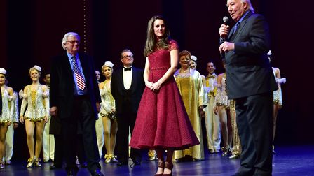 Catherine, Duchess of Cambridge on stage for the curtain call with the cast of 42nd Street on the op