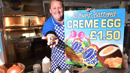 Yarmouth chip stall holder, Connie Hodges, is selling battered creme eggs for Easter. PHOTO: Nick B