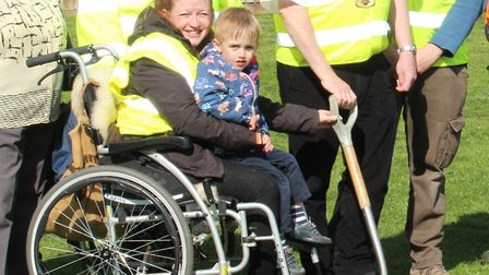 Left to right: Julie Potter with son Craig Potter at the ground breaking ceremony. Picture: Nick Cla