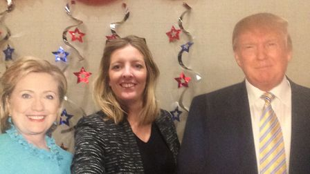Annabelle Dickson with presidential candidates (well cardboard cut-outs)