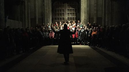 The Voice Project rehearsing for its vocal spectacle Between Stars at Norwich Cathedral. Photo: Iai