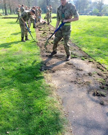 RAF Regiment trainees from RAF Honington have been helping to keep Thetford tidy as part of their co