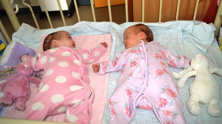 Iris and Esme Wilson as they prepare to leave Norfolk and Norwich University Hospital. Picture: Shel