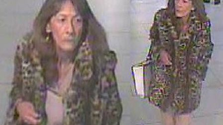 CCTV images of a woman sought by police in connection with a fraud where £12,500 was stolen from a b