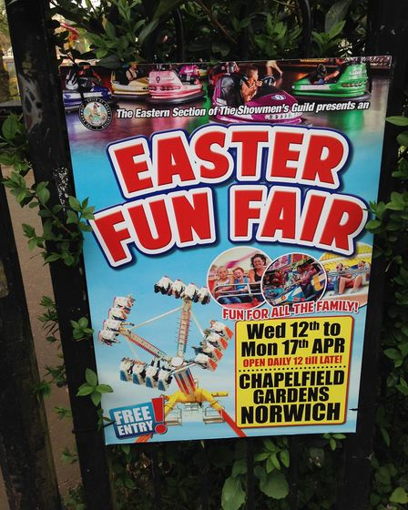 A sign advertising the Easter funfair in Norwich.