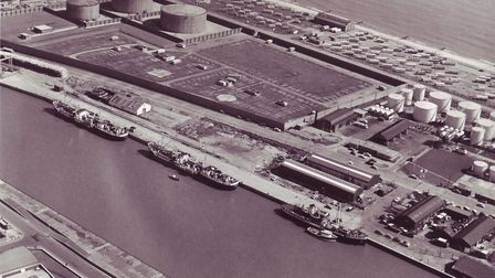 Two oil tankers discharging at Yarmouth's East Quay to feed the Central Electricity Board's South De