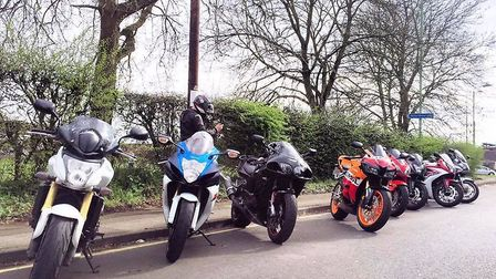 Bikes ready to ride out to meet terminally ill man David Gurney. Picture: Tyron Fuller