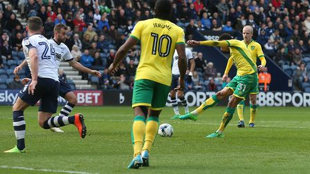 Josh Murphy of Norwich scores his sides 2nd goal during the Sky Bet Championship match at Deepdale,