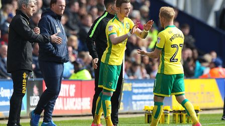 James Maddison of Norwich prepares to make his debut during the Sky Bet Championship match at Deepda