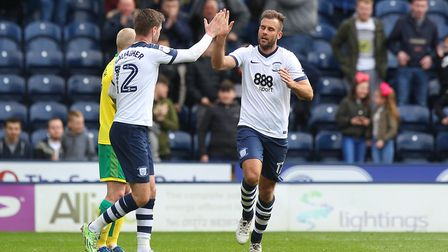 Tommy Spurr of Preston North End celebrates scoring his sides 1st goal during the Sky Bet Championsh