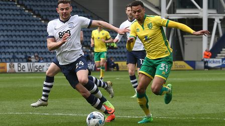 Josh Murphy of Norwich and Andy Boyle of Preston North End in action during the Sky Bet Championship