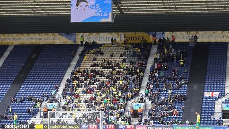 True heroes - the travelling Norwich City fans, who enjoyed a rare away success, at Preston. Pictur