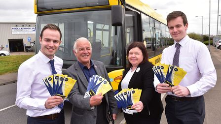 Launch of a new bus service in Yarmouth by Anglian Buses.Mickey Amey (Anglian bus),Mick Castle, Pau