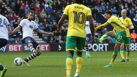Josh Murphy scores Norwich City's second goal in the 3-1 win at Preston. Picture by Paul Chesterton/