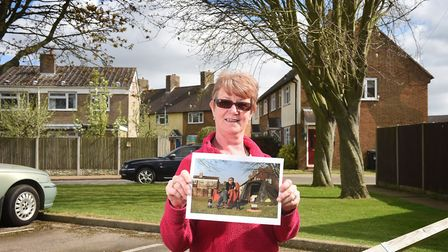 Jane Algar in the same location she camped at for three weeks to secure her home 10 years ago. Pictu