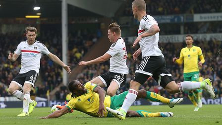 Cameron Jerome goes down in the area but there's no penalty for City. Picture: Paul Chesterton/Focu