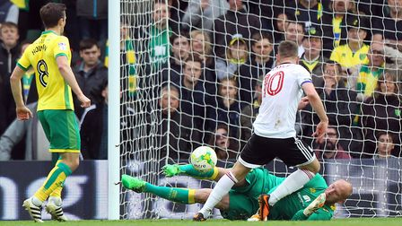 John Ruddy thwarts Tom Cairney but the Scottish international had the last laugh. Picture: Paul Ches