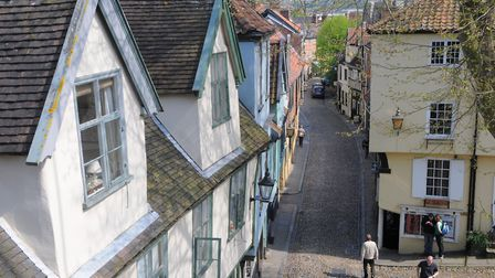 Norwich's historic city streets include Elm Hill. . Photo: Steve Adams