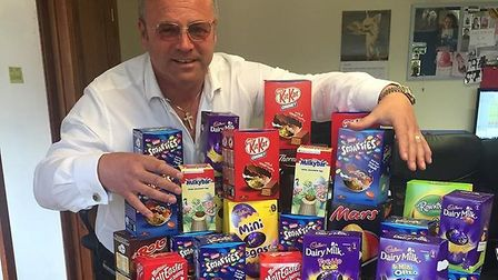 Metro Road Norwich director Shaun O'Brien with some of the eggs donated to East Anglia's Children's
