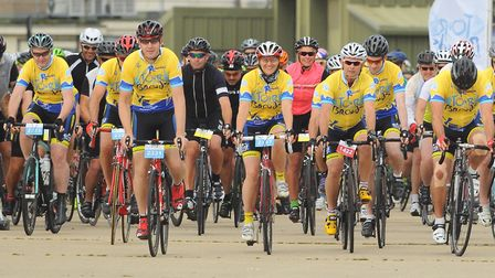 Keen cyclists set off at the start line of the Tour De Broads cycle ride at the former RAF Coltishal