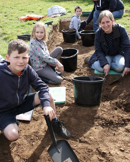 Young and old alike took part in an archaeological dig at Castle Field in Erpingham. The site is kno